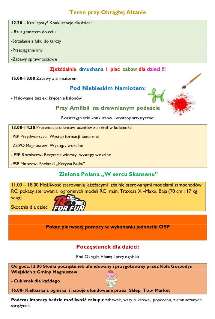 Dzień Dziecka w Skansenie Plan 2019 str2