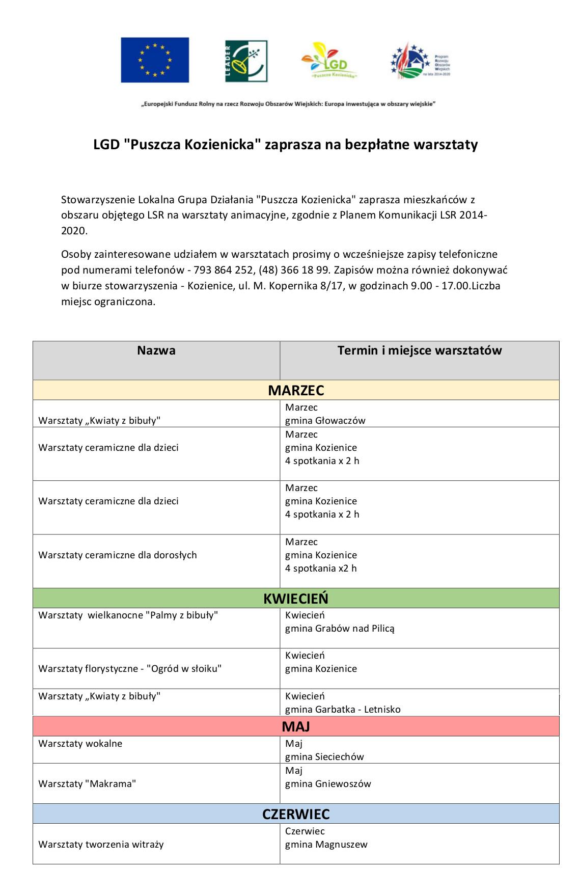 Harmonogram szkoleń i warsztatów 2020r